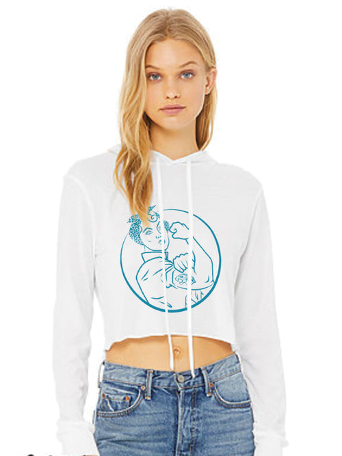 JAGS ROSIE THE RIVETER WHITE CROPPED HOODIE