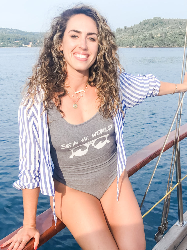 the admirals daughters sea the world sunglasses grey bodysuit waves sunshine
