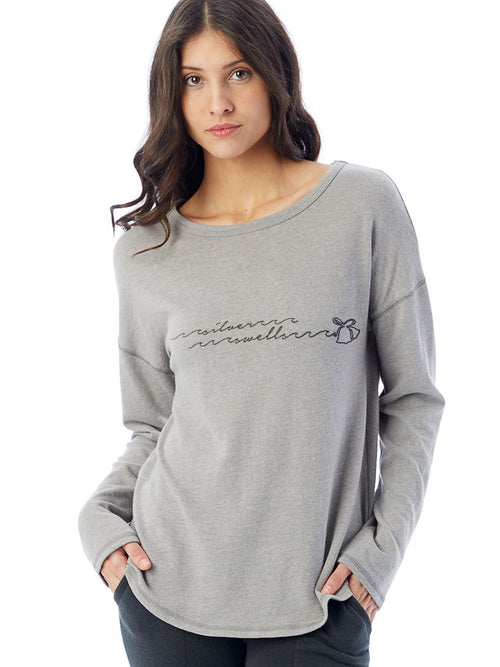 the admiral's daughters grey silver swells bells holiday christmas sweatshirt long sleeve