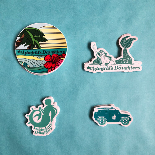 the admirals daughters sticker pack mermaid logo fj cruiser sticker endless summer vinyl stickers teal turquoise