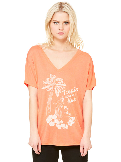 the admiral's daughters tropic like it's hot hula girl coral v-neck t-shirt