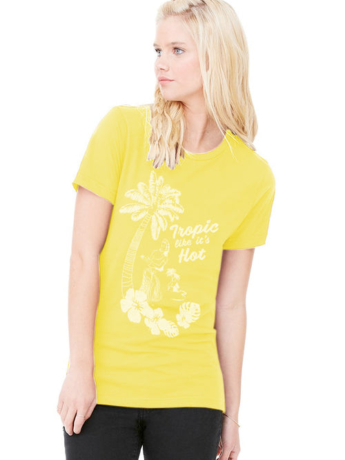 the admiral's daughters tropic like it's hot yellow hula dancer t-shirt