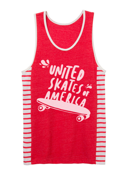 UNITED SKATES OF AMERICA RED STRIPED TANK TOP {UNISEX}