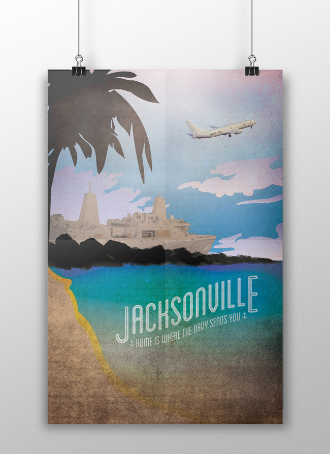 the admiral's daughters naval station jacksonville florida nas jax mayport naval base home is where the navy sends you vintage style travel poster print ffg P3