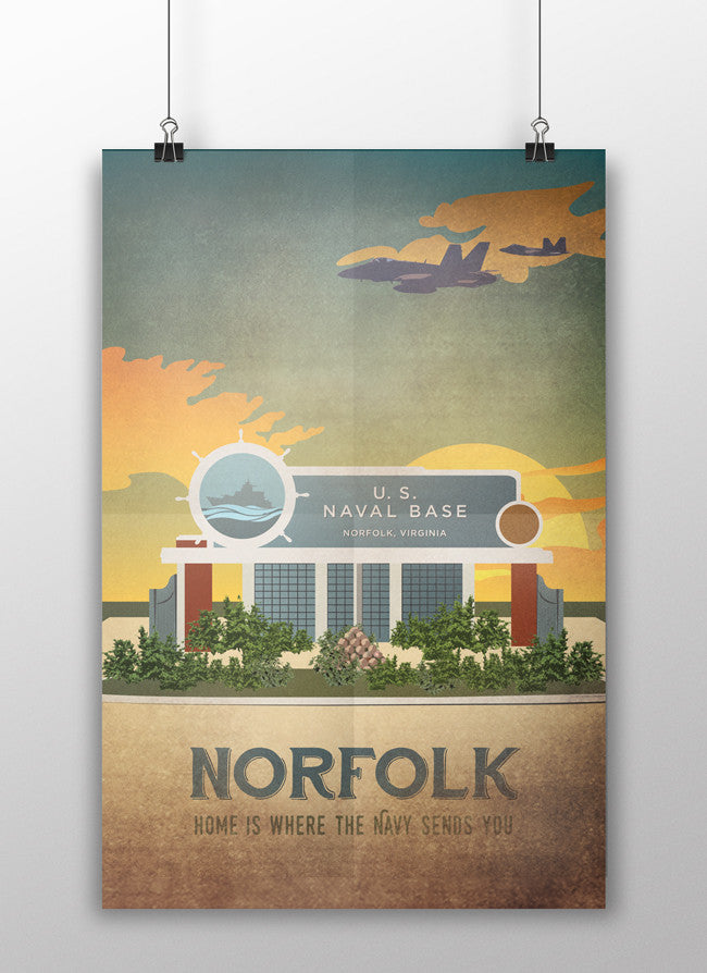 the admiral's daughters norfolk virginia us naval base vintage style travel poster print front gate air base sunrise