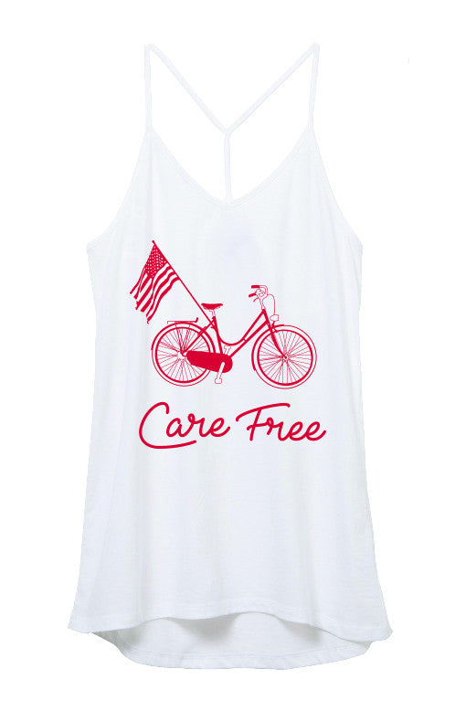 CARE FREE BEACH CRUISER WHITE STRAPPY TANK TOP