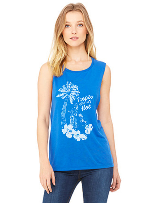 the admiral's daughters royal blue tropic like it's hot hula girl muscle tank