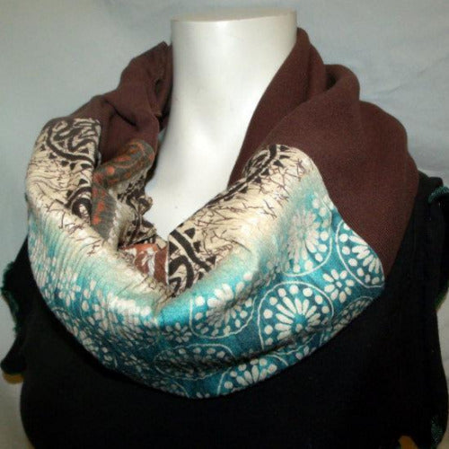 Teal and White Stripe Eternity Scarf