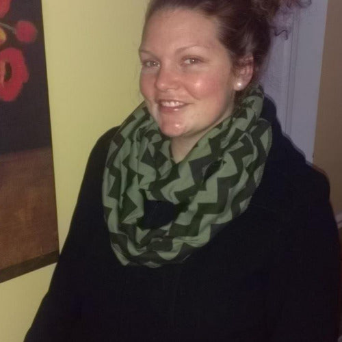 Blue and Green Plaid Eternity Scarf