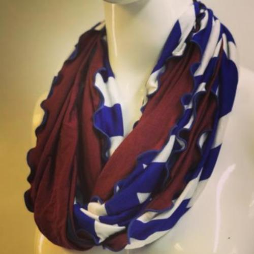 Orange and Oatmeal Stripe Eternity Scarf