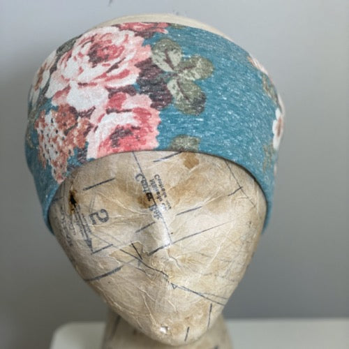 Heather Aqua Floral Head Hugger