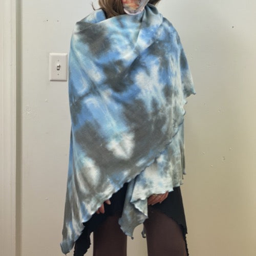 The Nomad Shawl Hand-Dyed Blues and Greys ~ READY TO SHIP