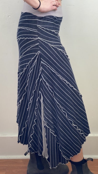 Sunburst Skirt Navy Striped ~ S/M ~ READY TO SHIP
