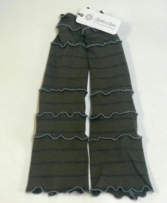 Striped Green and Grey Arm Warmers