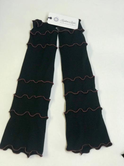 Black with Deep Red Arm Warmers
