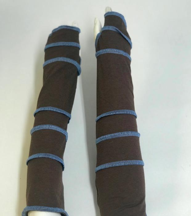 Brown with Sky Blue Arm Warmers