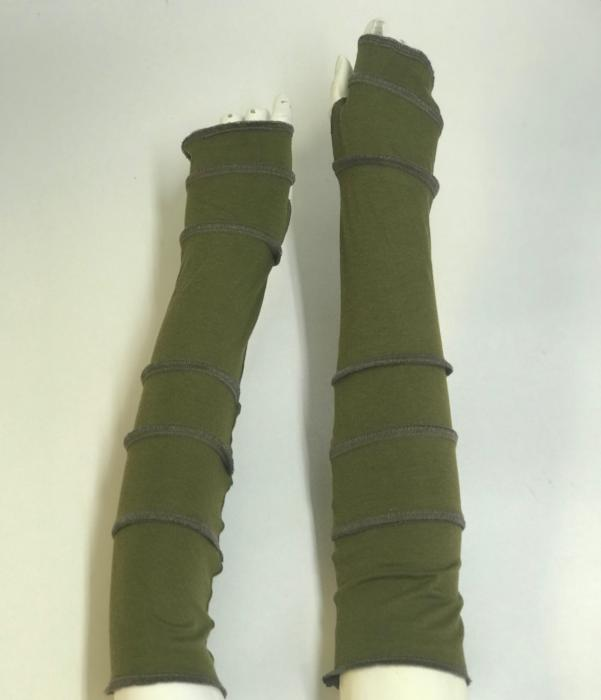 Green with Brown Arm Warmers