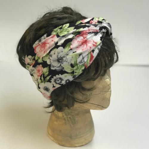 Pink and Grey Floral Turband