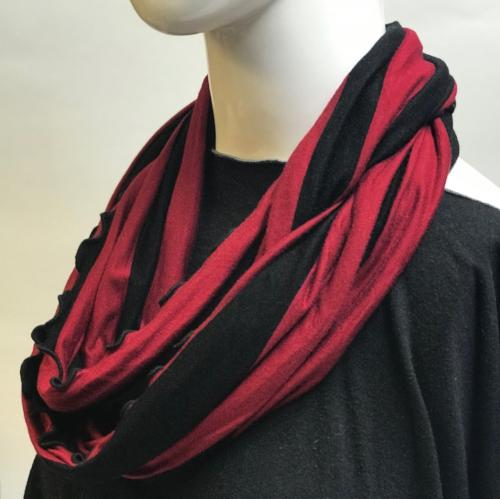 Red and Black Stripe Eternity Scarf