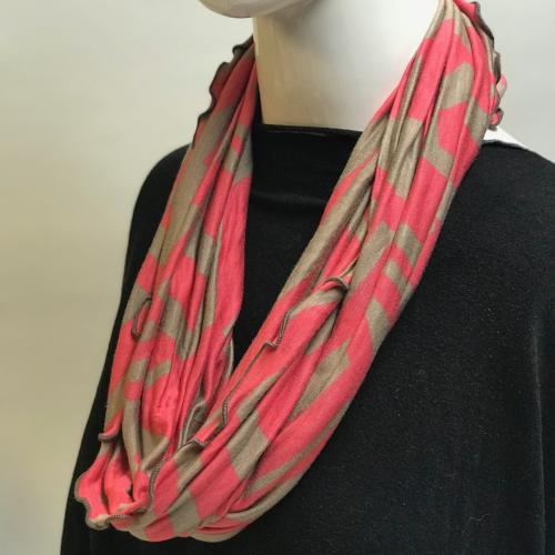 Coral and Taupe Eternity Scarf