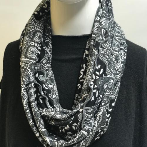 Charcoal Paisley Eternity Scarf