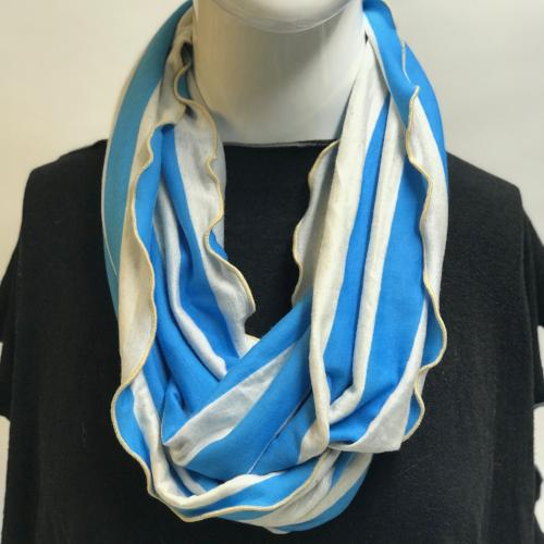 Blue and Oatmeal Stripe Eternity Scarf