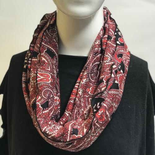 Red Paisley Eternity Scarf