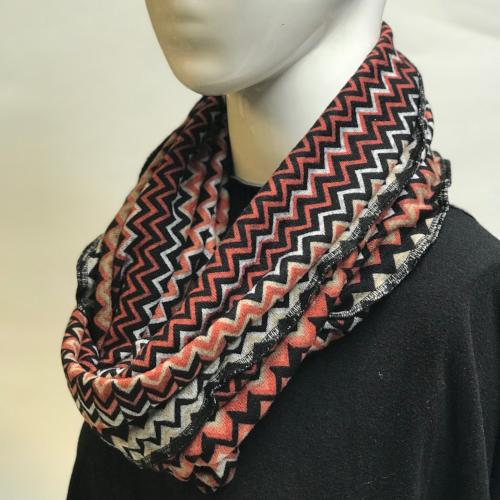 Arrow Chevron in Coral/Black Eternity Scarf