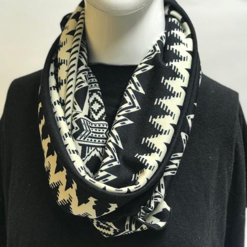 Black/Cream Aztec Eternity Scarf