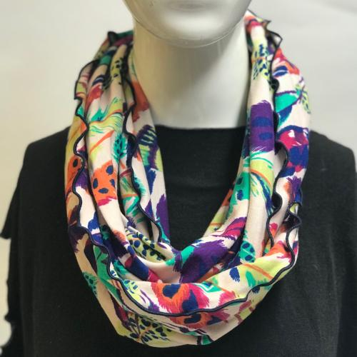 Falling Feathers on Cream Eternity Scarf