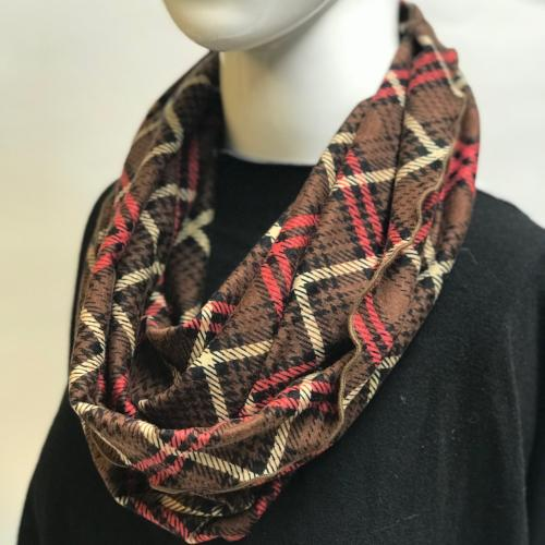 Brown Plaid Eternity Scarf