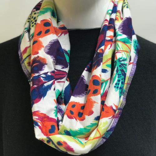 Falling Feathers on White Eternity Scarf