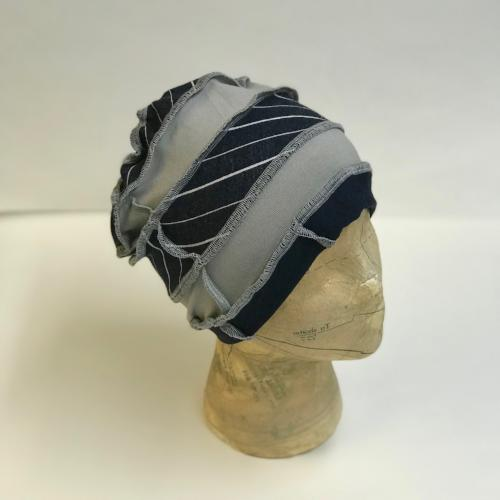 Navy and Grey Striped Slouch Hat