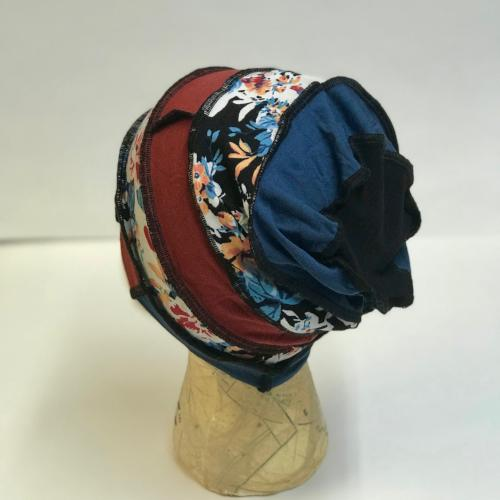 Blue and Rust Floral Slouch Hat RESERVED