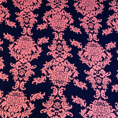 Floral Damask in Navy and Coral Head Hugger