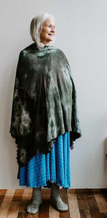 The Nomad Shawl Hand-Dyed Grey and Black ~ READY TO SHIP