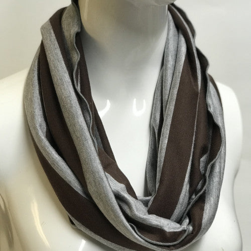 Brown and Grey Stripe Eternity Scarf