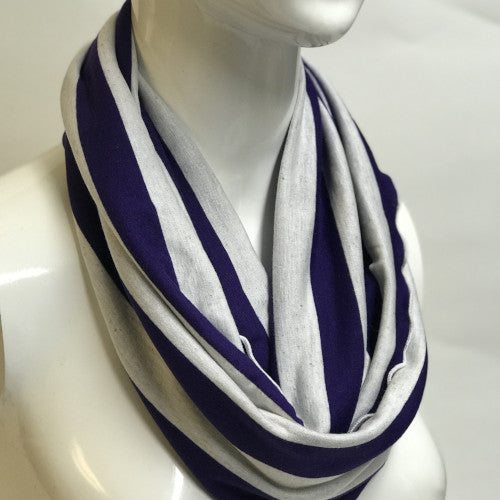 Purple and White Stripe Eternity Scarf