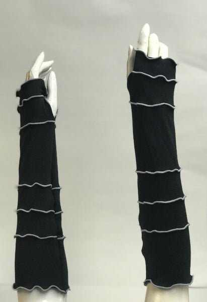 Black with Light Grey Arm Warmers