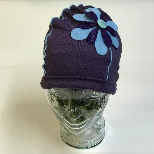 Flower Beanie Hat in Purple and Blue