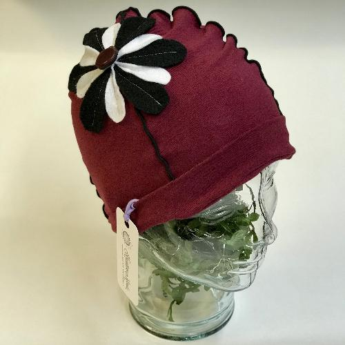 Flower Beanie Hat in Ruby, Black and White