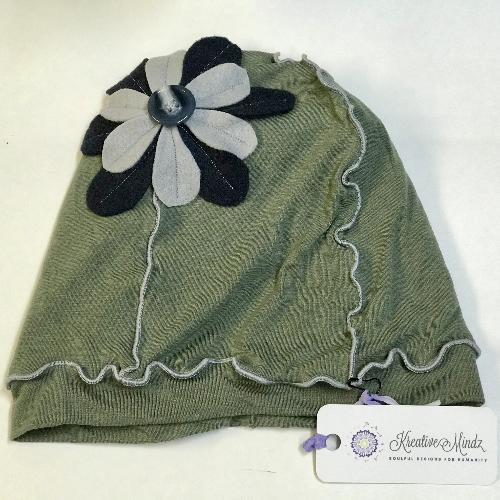 Flower Beanie Hat in Green, Navy and Grey