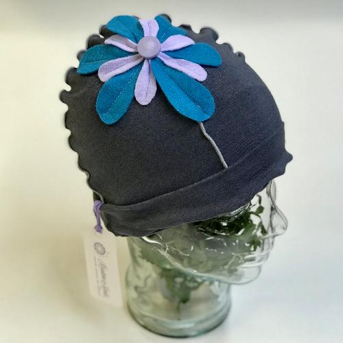 Flower Beanie Hat in Grey, Blue and Purple