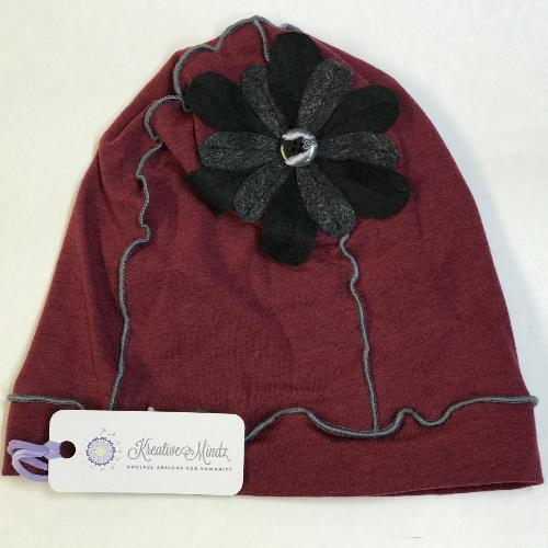 Flower Beanie Hat in Ruby, Black and Grey
