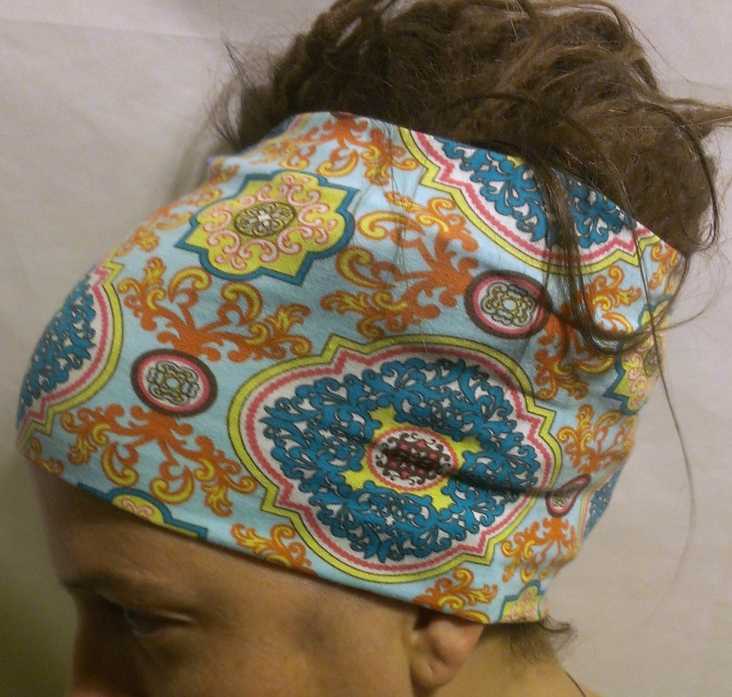 Teal/Gold/Pink Floral Head Hugger