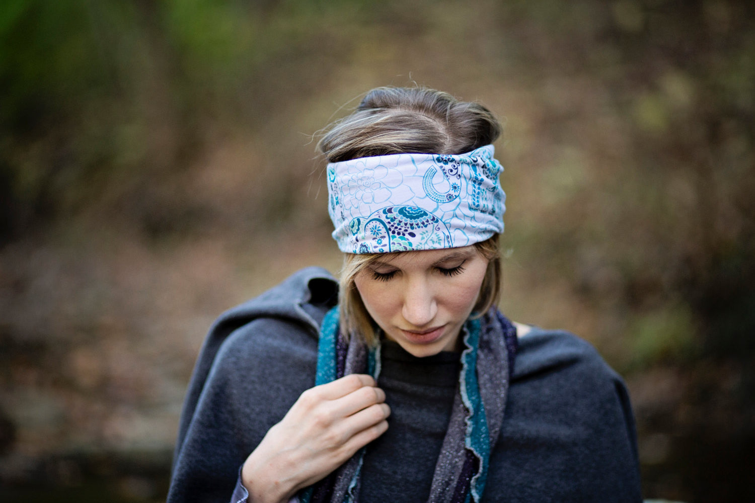 Teal and Navy Plaid Head Hugger