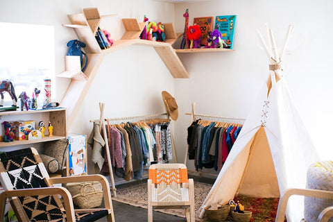 For the children's corner (complete with a teepee), playful, woven-nylon chairs from L.A. designers Pacific Wonderland riff on midcentury macramé.