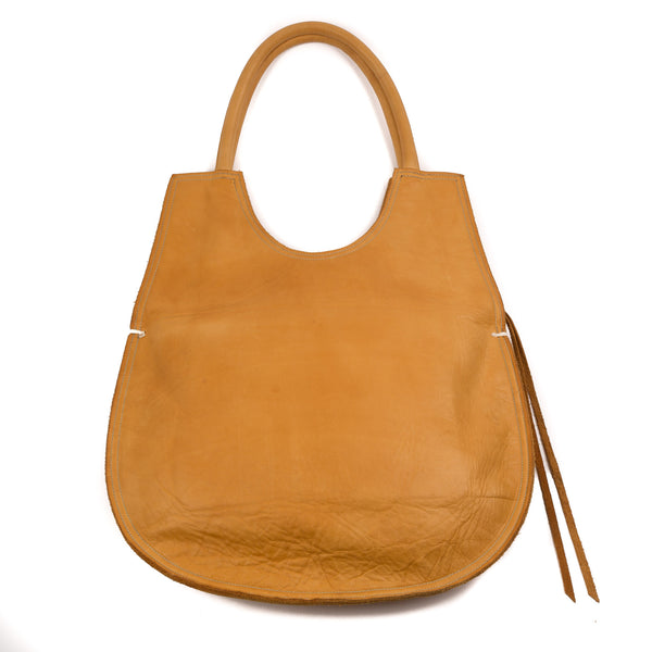Egg Shape Bag, Tan Leather