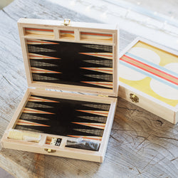 Hitchcock yellow travel backgammon set