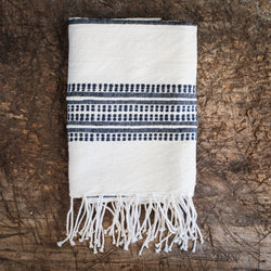 Aden cotton hand towel - natural with navy